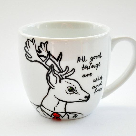 Hand Painted Mug with Custom Quote. Animal Mug by atelierChloe