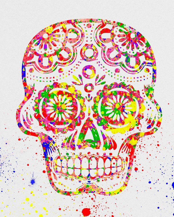 Day of the Dead, Sugar Skull Watercolor Art