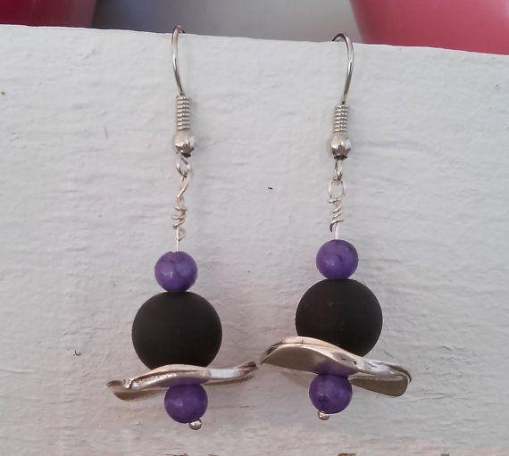 Hook earrings with matt black glass bead purple by GIASEMAKI