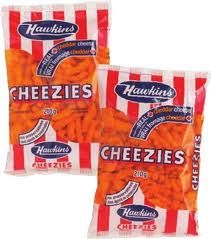 Hawkins Cheezies (the big bag if possible) - Belleville, Ontario, Canada.
