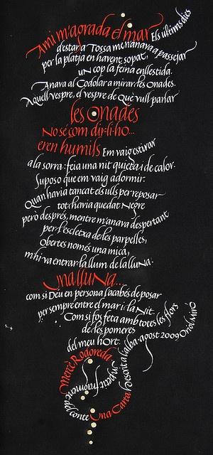 Mercè Rodoreda by Oriol Miró, via Flickr: Photos, Art Calligraphy, Caligrafía Lettering, Calligraphy, Calligraphy Typography, Caligrafía Artística