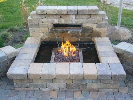 Fire & Water feature for backyard patio: Fire Pits, Backyard Bliss, Dream, Water Features, Gardens Idea, Water Kits, Backyard Living, Backyard Fire, Firepit