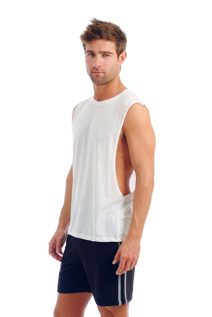 Our Men's muscle tank is one of our favorite tanks tops for men. This is not your average muscle tank. With a very light weight and feel this muscle tank top is super soft to the touch. Made from our