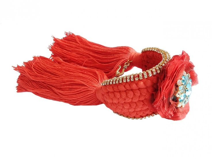 Braided cuff in orange braid with silk flower and dipped in gold rhinestones by Jolita Jewellery. ON SALE NOW. Can be made in OTHER COLOURS. Was £300 now £175.
