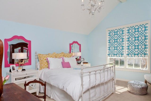 Transitional Baby Blue Attic Room for Girls Enhanced with White Youth Bedroom Furniture for Sleeping and Studying