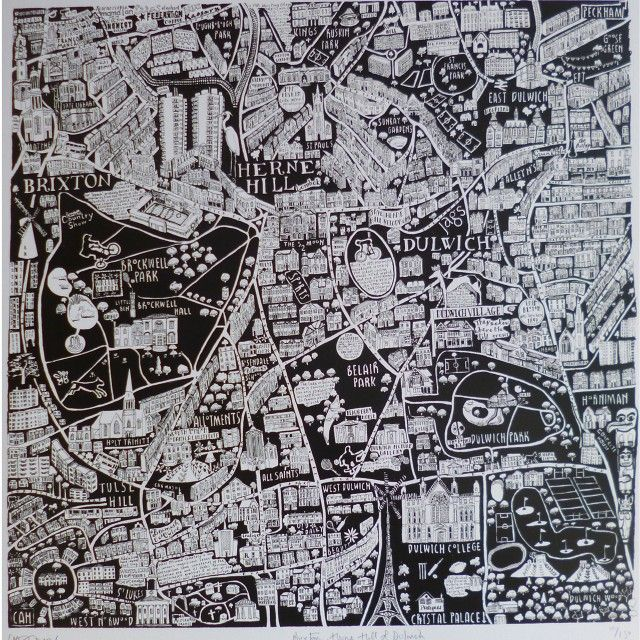 Caroline Harper - Map of Brixton, Herne Hill and Dulwich