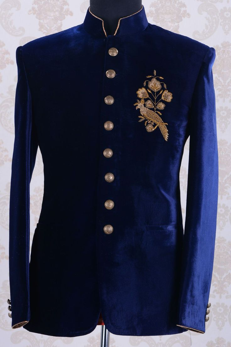 Jodhpuri Suites-Royal Blue-Zardosi Work-ST565