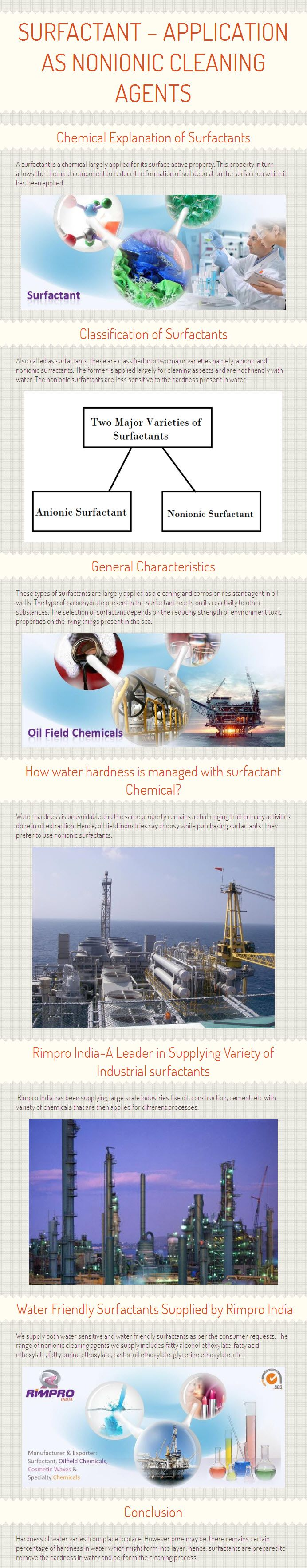 Infograph about how surfactant is useful in best quality surfactant manufacturing and what is Nonionic surfactants and how is it prepared with the optional ethoxylate component by the consumer as per the industrial requirement? Get more details, visit at http://www.rimpro-india.com/articles1/surfactant-application-as-nonionic-cleaning-agents.html