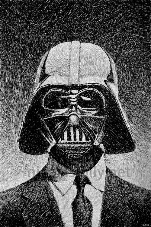 Dark vador (Star Wars) - Portrait. Par Nicolas Jolly. Encre de Chine et plume.  Prints and objects : http://society6.com/nicolasjolly/darth-vader-portrait-2#1=45?curator=NicolasJolly