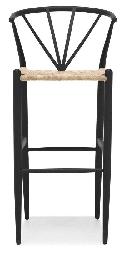 Delta barstol i svartlack med natursits.