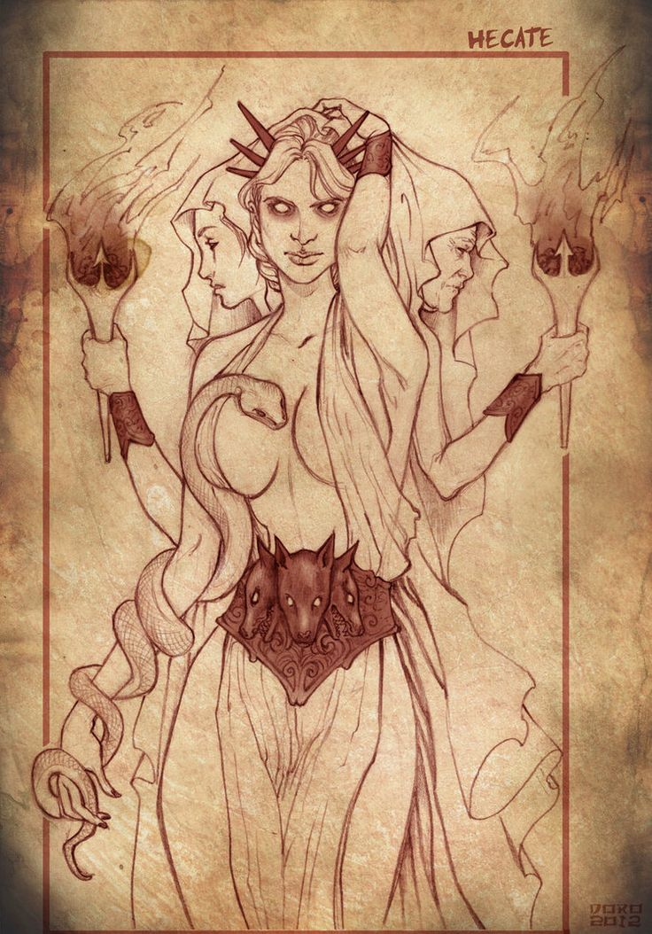 Hecate, the three faced goddess. Associated with the crossroads, witchcraft, the moon and sorcery.