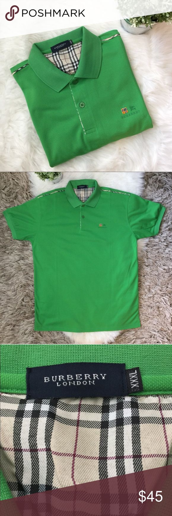 """Men's Burberry London Green Polo Collared Shirt Men's Burberry London short sleeved collared shirt in a bright green color. Rare rubber Burberry logo in left chest.  Burberry plaid on inner lining of buttons and a strip on shoulders. Excellent used condition. Inside tags have been removed. Size XXXL. Please see all measurements. Measurements laying flat, pit to pit: 22.5"""", length (shoulder to bottom): 29"""", sleeves: 8.25"""". Burberry Shirts Polos"""