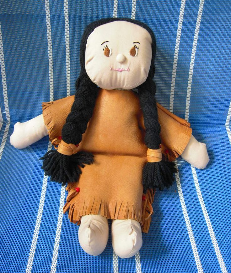 Vintage Native American Cloth Doll Handcrafted Leather Dress #DollswithClothingAccessories