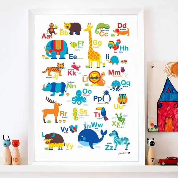 TierABC Poster Kinderzimmer Wandgestaltung