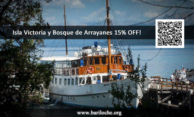 Para APROVECHAR!! Por tiempo limitado BARILOCHE.ORG te ofrece 15% de DESCUENTO en una de las mejores excursiones de Bariloche: Isla Victoria y Bosque de Arrayanes. Hace tu reserva!