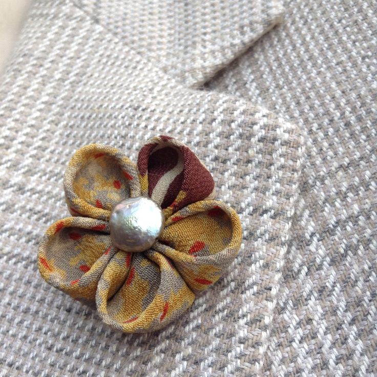 Silk Lapel Flower Mens Lapel Pin Flower Lapel Pin Silk Boutonniere Earth Tones Kanzashi Brooch Custom Lapel Pins Men Dad Gift For Him Suit by exquisitelapel on Etsy https://www.etsy.com/listing/472577937/silk-lapel-flower-mens-lapel-pin-flower