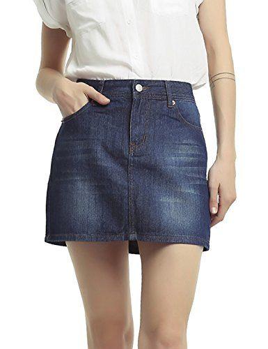 8236cb83552982 Tanming Women's All-Match Short Mini Denim Skirts (Three Colors ...