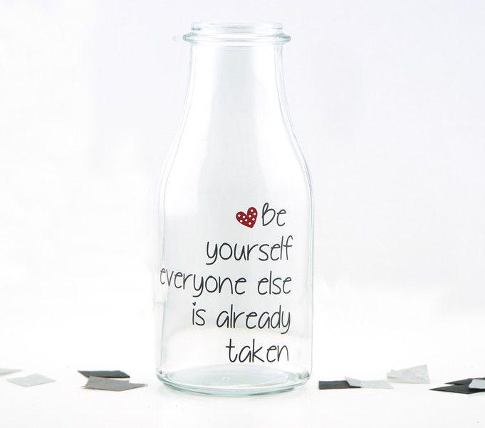 """Deko-Objekte - Spruchvase / Glas """"Be yourself""""  - ein Designerstück von schoenes-von-Herzen bei DaWanda"""