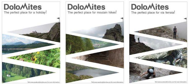 Logo en serie promotieposters Dolomieten De vier afbeeldingen per poster vormen samen een bergweg naar de top. Ook het logo weerspiegelt het karakter van de Dolomieten. (Vrij werk)  Go to my website for more information! www.lydiadeboer.nl
