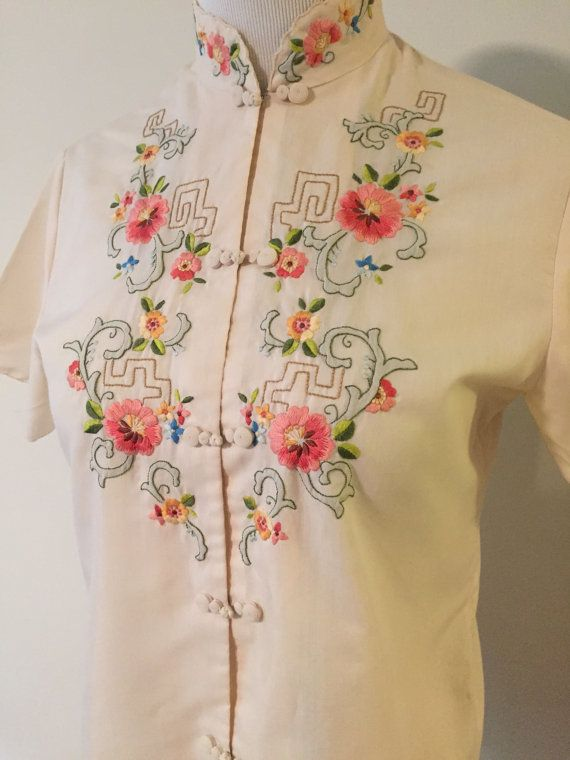 Vintage Chinese Blouse by FunkyFeatherBoutique on Etsy
