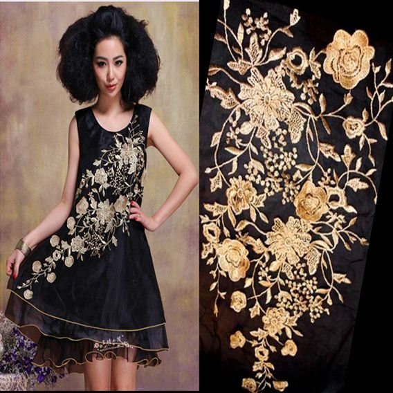 3D Golden Embroidered lace Applique Fabric Wedding Dress Accessories DIY Sew Cloth lace  Decorative patch RS412