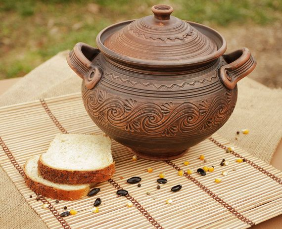 Brown ceramic pot with lid made of red clay. on Etsy, $43.39 CAD