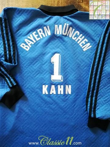Official Adidas Bayern Munich goalkeeper football shirt from the 1995/1996 season. Complete with Kahn #1 on the back of the shirt. This 'special edition' jersey also has Oliver Kahn's signature woven into the collar.