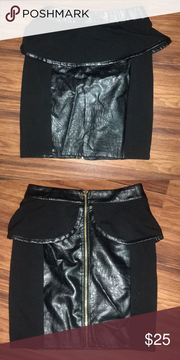 BEBE skirt (leatherette) with gold zipper BEBE skirt (leatherette) with gold zipper in the back bebe Skirts