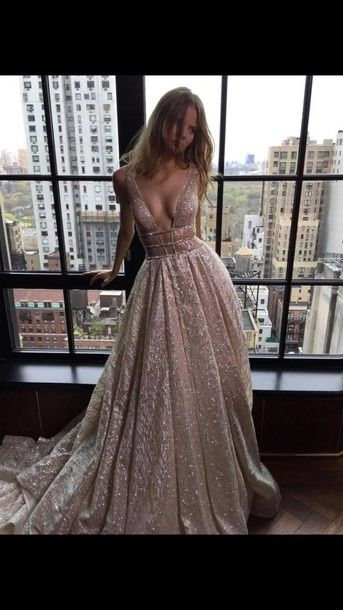 2016 Custom Charming Pink Sequins Long Prom Dress,Sexy Spaghetti Straps Evening Dress,Sexy V-Neck Backless Prom Dress