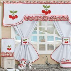 cortinas pintadas a mano para cocina - Buscar con Google