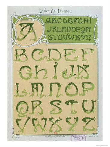 'Art Nouveau' Alphabet. 1903 (colour litho), Mulier, E. / Bibliotheque Nationale, Paris, France