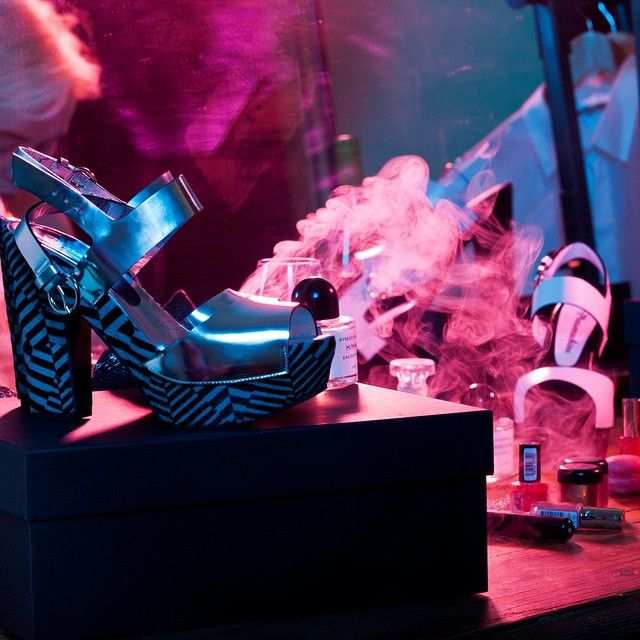 Gizmos of a leisured den, smoking essences on the make-up mirror and optical illusions by Pleasemachine:  high block heel platform sandals featuring mirror leather and hair with geometric electric blue/black print on the platform