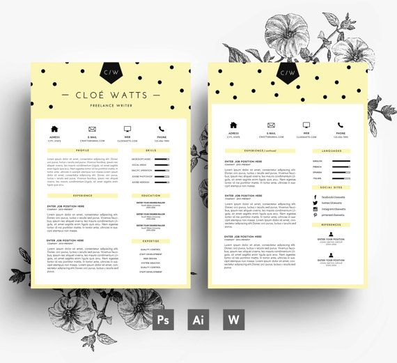 CV + lettre de motivation + carte de visite / 3 page CV / Easy modèle PSD modifiable / télécharger les polices incluse / Instant Digital / Custom design