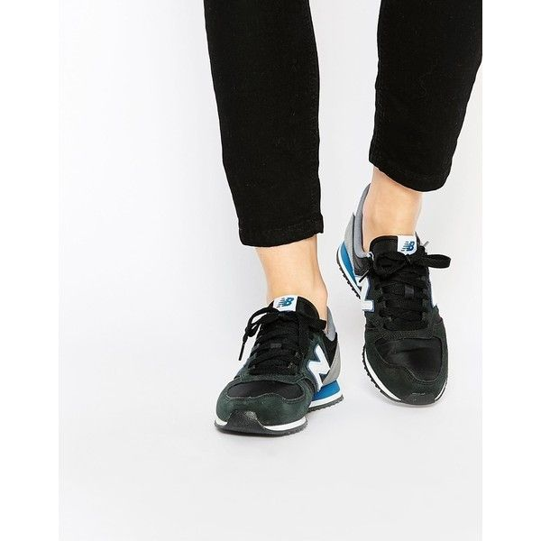 New Balance 420 Black Multi Suede Sneakers (£71) ❤ liked on Polyvore featuring shoes, sneakers, blackgreyblue, suede sneakers, black shoes, tennis shoes, lacing sneakers and lace up sneakers