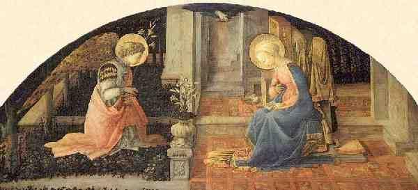 """""""La Anunciación"""" esta vez hecha por Filippo Lippi. Pintor cuatrocentista italiano. Sobresalió por la originalidad del paisaje y la elegancia nerviosa en el dibujo, que influyó decisivamente en Botticelli."""