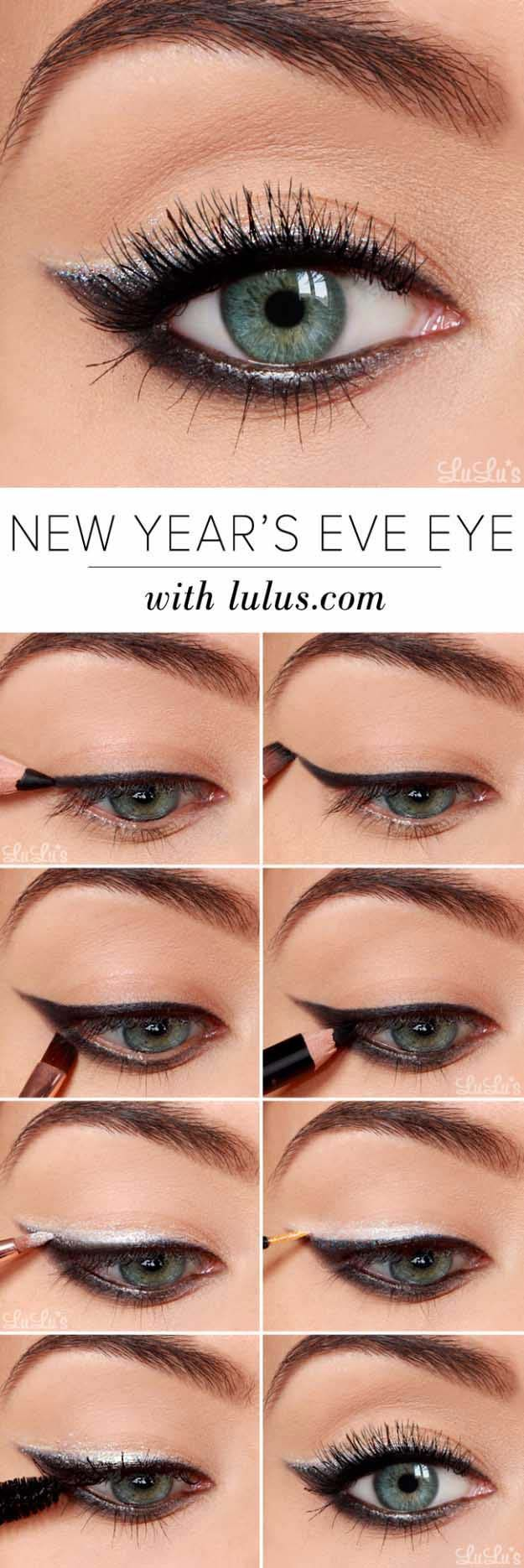 Eyeshadow Tutorials for Beginners - New Year's Eve Eyeshadow Tutorial - Step By Step Tutorial Guides For Beginners with Green, Hazel, Blue and For Brown Eyes - Matte, Natural and Everyday Looks That Are Sure to Impress - Even an Awesoem Video on a Dramatic but Easy Smokey Look - thegoddess.com/eyeshadow-tutorials-beginner