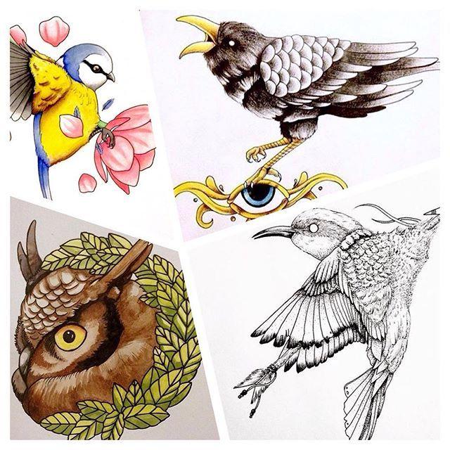 ¡Diseños de aves disponibles para tatuar! Agenda tu cita ahora mismo. 😀📩🎉 #diseño #ilustración #boceto #dibujo #tinta #ink #tatuaje #tatuajes #ink #tattoo #cdmx #aves #buho #cuervo #pintando #acuarela #tintachina