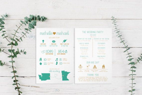 Infographic Wedding Program Printable PDF or Printed Cards | Ceremony Timeline, Fun Facts, States, Destination, Travel, Modern, Cute | Love