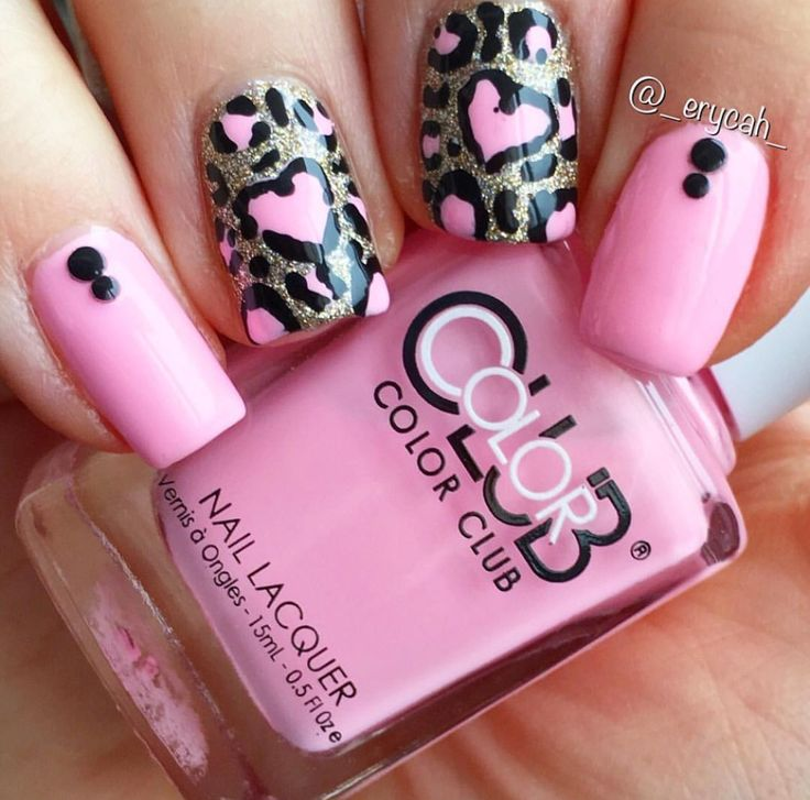 Pink Leopard Nails Color Club - Feathered Hair Out To There China Glaze - I'm Not Lion
