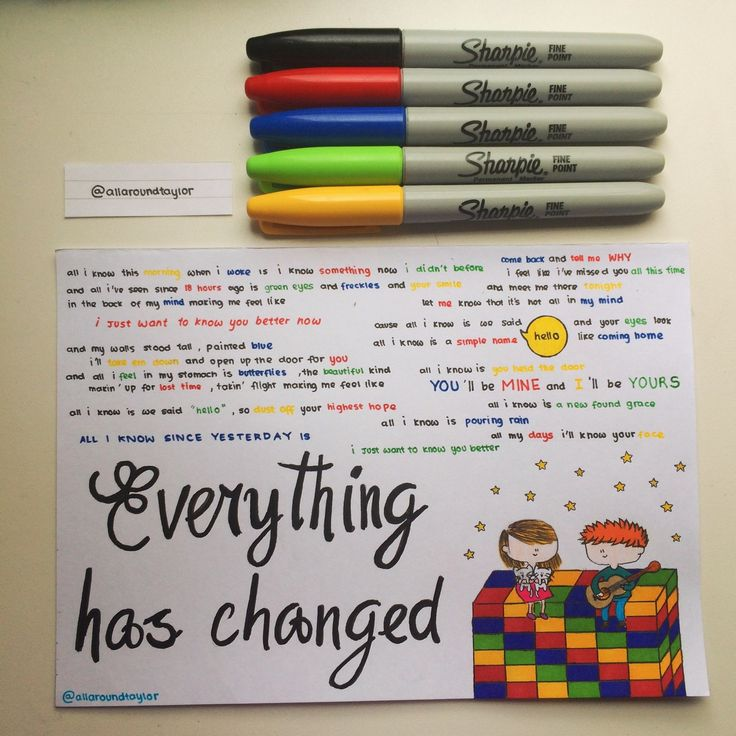 Everything Has Changed by Taylor Swift lyrics, hand drawn by http://allaroundtaylor.tumblr.com/.
