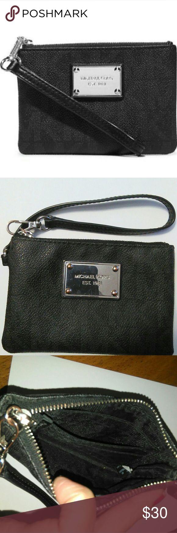 Michael Kors Jet Set Wristlet Black, good used condition. Michael Kors Bags Wallets