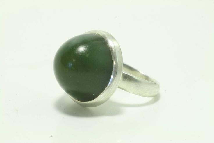Pounamu & Sterling Silver 'Dome' Ring  www.jeremyleeming.com
