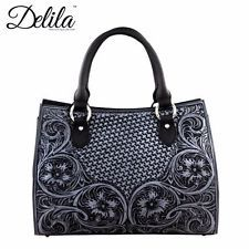 Handbag 100% Genuine Leather Delila Tooled Collection LEA-6013