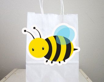 Bumble Bee Favor Boxes Black And White Polka By YourPartyShoppe