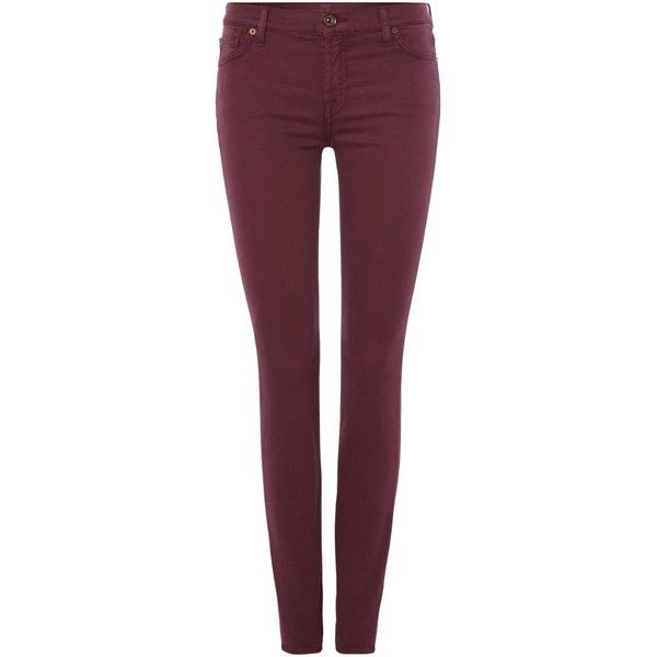 7 For All Mankind Mid rise skinny jean in luxe sateen burgundy ($275) ❤ liked on Polyvore featuring jeans, pants, pantaloni, burgundy, women, stretchy skinny jeans, denim skinny jeans, super skinny jeans, super stretch skinny jeans and burgundy jeans