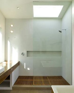 shower with teak floor, cary bernstein architect | houzz.com: Shampoo bottle idea!