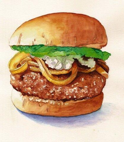 Original Watercolor Painting - The Big One - Hamburger Food Art. $70.00, via Etsy.