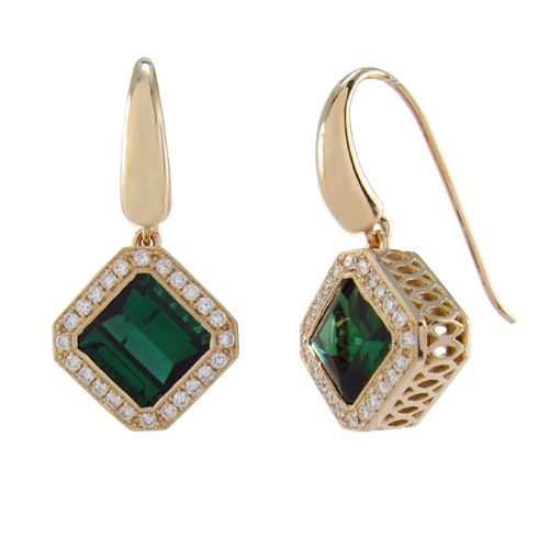 14K YELLOW GOLD GREEN TOURMALINE EARRINGS   Penwarden Fine Jewellery - Jewelry - Jewelers Toronto Ontario GTA