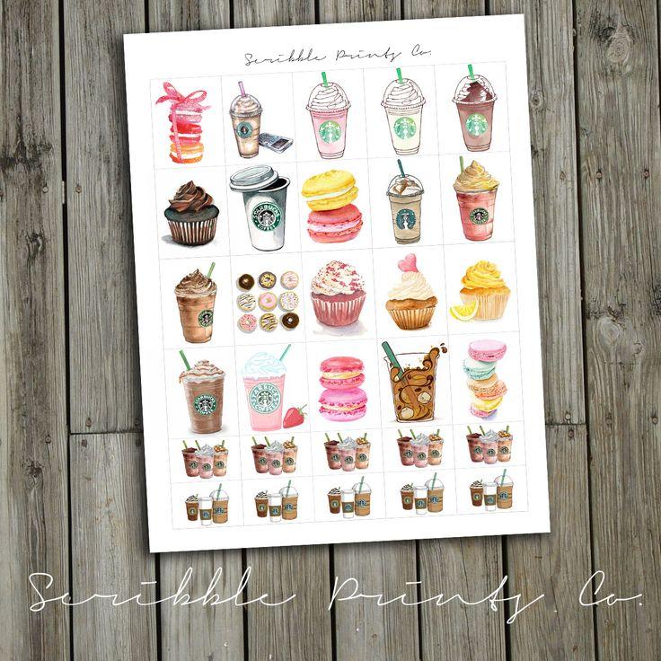 Printable Planner Stickers PDF // Starbucks by ScribblePrintsCo, $0.95