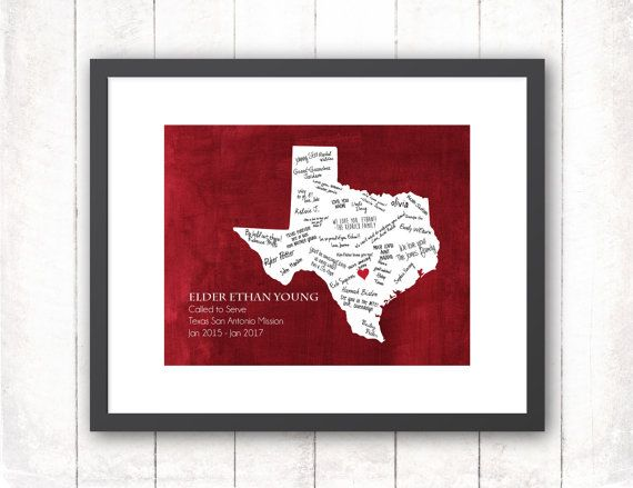 This would be perfect for a mission farewell. It would be fun to have guests sign it in one color for the farewell and another color for the welcome home.